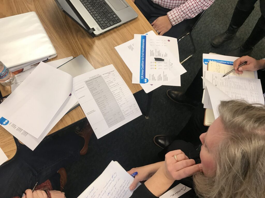 Group reviewing housing data